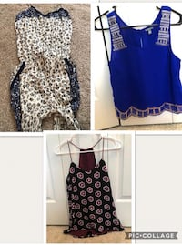 Romper long with spaghetti strap and pockets very comfortable never worn can fit sizes S or M. Blue top is from Charlotte Russe never worn size Small . Maroon with flowers is from express never worn XS. $10 each or all three for $25 New Port Richey, 34655
