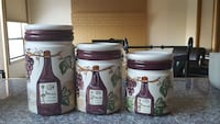 3 piece wine themed canister set.