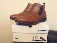 unpaired brown leather boots on box Brentwood