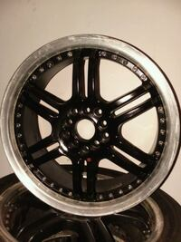 """nice set of 17 """" black rims with chrome lip. need them gone  quick."""