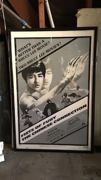 Framed poster. Bruce Lee fist of fury Chinese connection $20