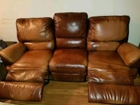 brown leather 3-seat recliner sofa Kitchener