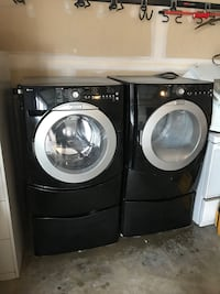 black front load washing machine and dryer set Manassas, 20110