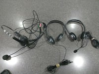 three corded headsets