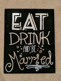 Eat, Drink and be Married hand painted sign Sterling