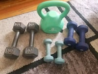 green and black fixed weight dumbbells Queens, 11101