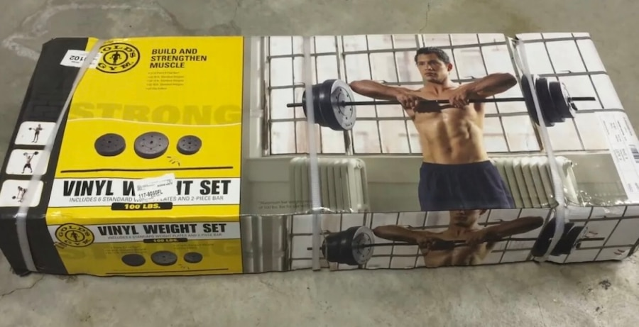 Photo Gold's Gym 100 LB Standard Weight Set with Bar 10Lb 15Lb 25Lb Plates