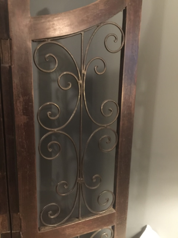 Very Heavy Dark Wood and Black Wrought Iron Four-Panel Room Divider! Gorgeous! 0144a580-59d3-40a5-aa29-2e7ca79b9259