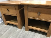 two brown wooden side tables null