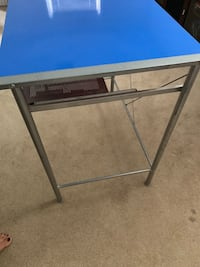 Metal desk with blue top and can flip to pink top Burke, 22015