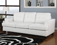 Brand New Platinum White Bonded Leather Sofa with Queen Sleeper by Acme 2272 mi