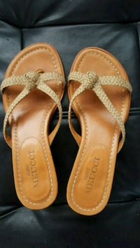 Sesto Meucci size 5 beige leather woven sandals Holiday, 34691