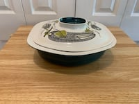 Poole Pottery Mid-Century Modern 2-Pc Atomic Design Blue & White Ceramic Casserole Serving Dish w/ Lid Markham, L3T