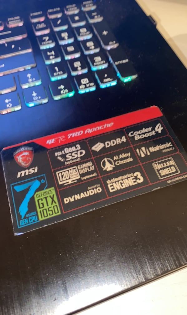 MSIgaming laptop 6e9c8a5a-4415-4305-877e-3deacb203cfd
