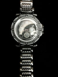 round silver-colored chronograph watch with link bracelet Los Angeles