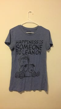 Cute Adorable Blue Peanuts Happiness Shirt Soft Large Chester, 23831