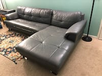 Black leather 3-seat sofa - used Falls Church, 22043
