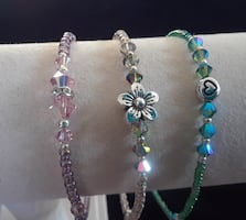 """NEW -Set of 3 anklets made with Austrian crystals and glass beads. Fits 10""""-11""""."""