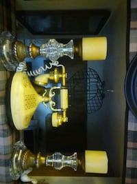 two yellow-and-black glass candle holders Miami, 33176