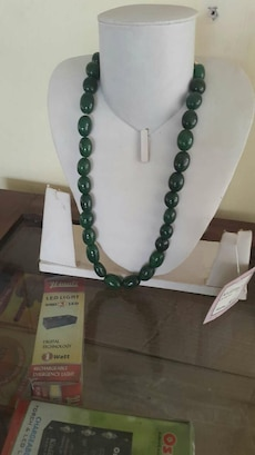 Semi gem stone beads mala green emerald colour