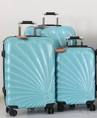 "Polycarbonate Turquoise 3pcs Luggages 20""24""28"" each suitcases Toronto"