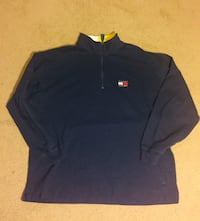 Vintage Retro 90's Tommy Hilfiger Navy Blue Zip Up Shirt Jacket Size Extra Large Laurel, 20708
