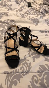 black leather open toe ankle strap heels Port Neches, 77651