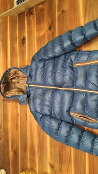 Blue down filled hooded light weight jacket