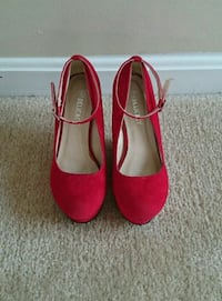 pair of red suede platform shoes  Fairfax, 22030