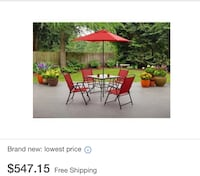 red and black patio table with text overlay Charlotte, 28212