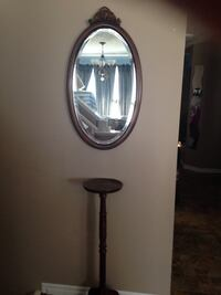 oval gray wooden framed mirror Calgary, T3M 0T9