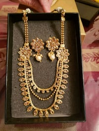 gold and silver necklace and earrings set Bristow