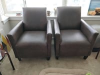Two brown leather armchairs Arlington