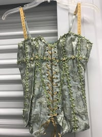 Beautiful blue grey with shades of green floral embroidered corset