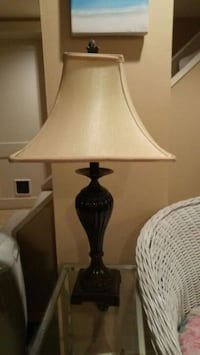 brown glass table lamp with silk shade 540 km