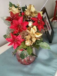 red and white artificial flowers centerpiece Hamilton