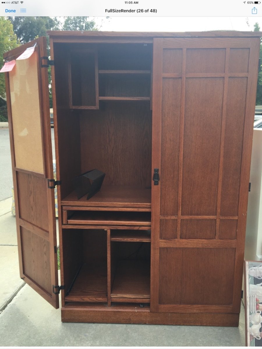 Simple Riverside Furniture Seville Square Computer Armoire In Warm Oak  8985