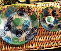 (4) FUSED Glass, Plates & (4) FUSED Glass Bowls Doylestown