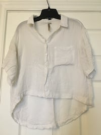 white button-up t-shirt