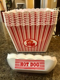 Popcorn bowl and hotdog bowl 8 each