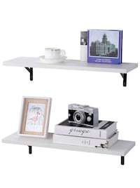 SUPERJARE Wall Mounted Shelves, Set of 2, Display Ledge, Storage Rack