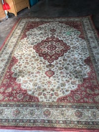 Floor size Persian rug. Green water color paint in corner   Edmond