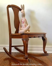 Antique solid wood cained rocking chair