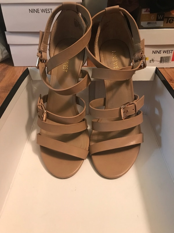 54de3be74d3a Used pair of white leather open-toe heeled sandals for sale in La Porte -  letgo