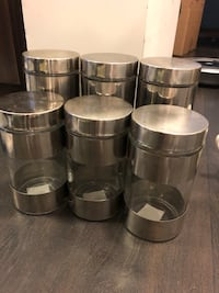 6 stainless steel and glass jars Toronto, M2N 0G1