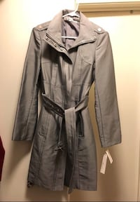 grey button-up trench coat