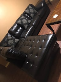 tufted black leather sectional sofa Tyler, 75707