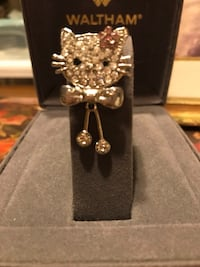 Pretty ! Diamond Crystal Stone Kitty Pin/ Brooch Gainesville, 20155