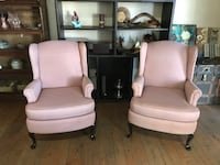 Two mauve/pink wingback chairs 2347 mi