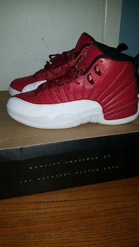 pair of gym red Air Jordan 12's with box Toronto, M6A